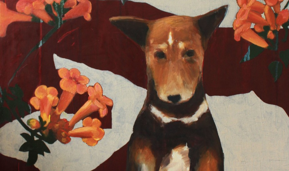 cropped dog flower painting